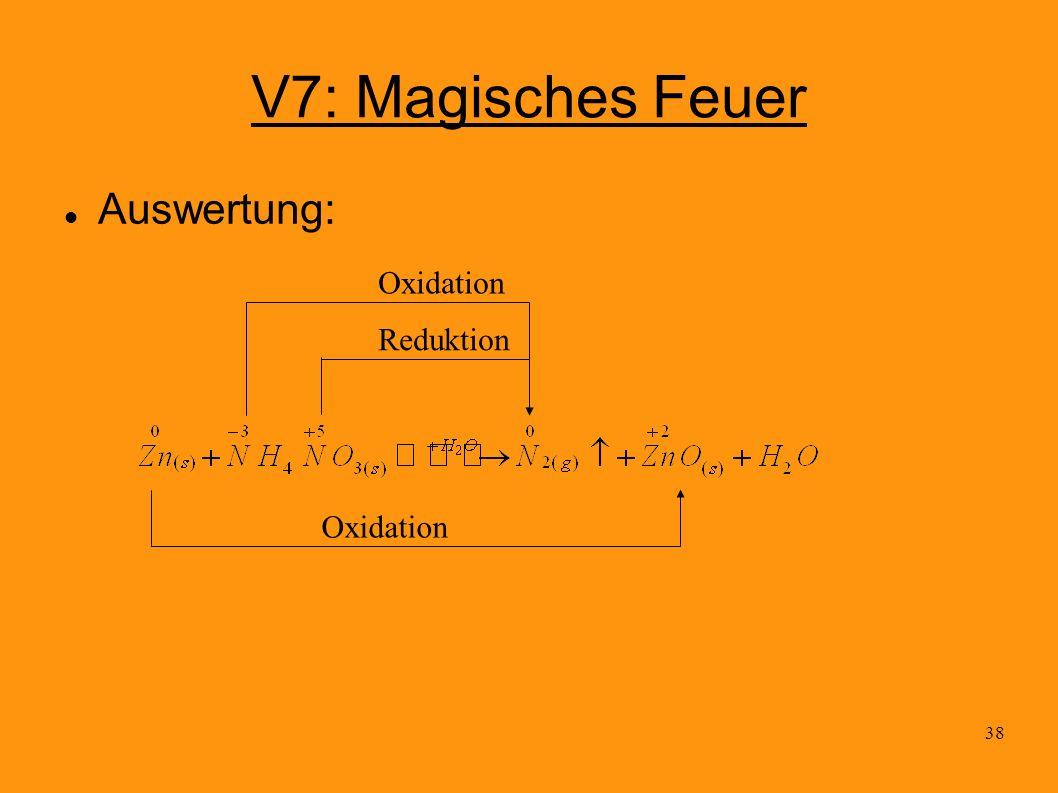 38 V7: Magisches Feuer Auswertung: Oxidation Reduktion Oxidation