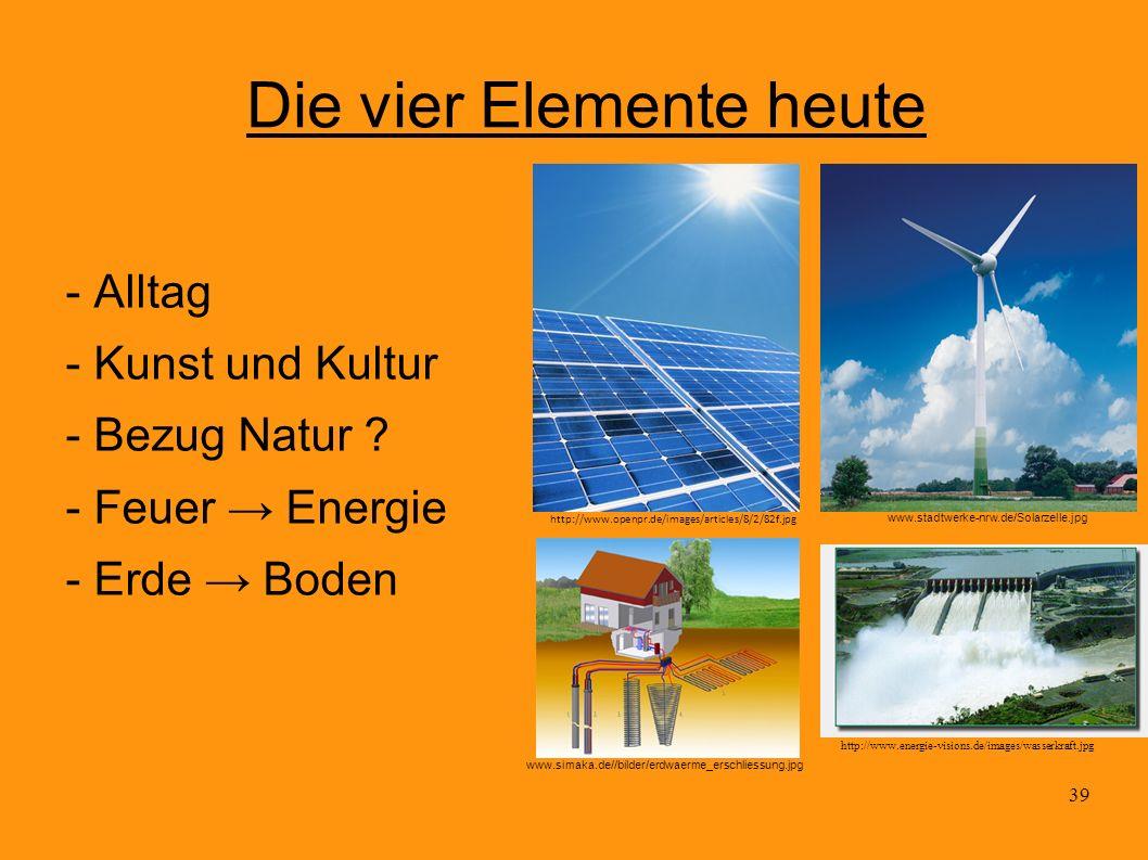 39 Die vier Elemente heute - Alltag - Kunst und Kultur - Bezug Natur ? - Feuer Energie - Erde Boden http://www.openpr.de/images/articles/8/2/82f.jpg w