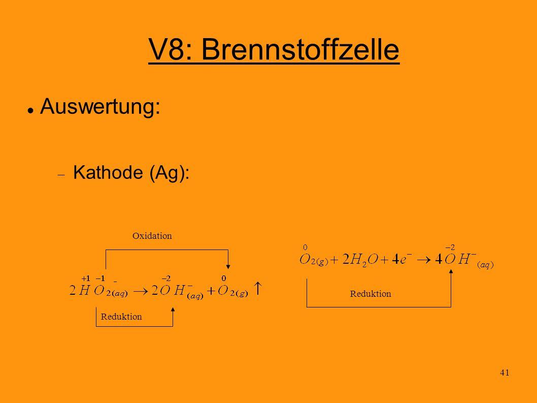 41 V8: Brennstoffzelle Auswertung: Kathode (Ag): Reduktion Oxidation Reduktion