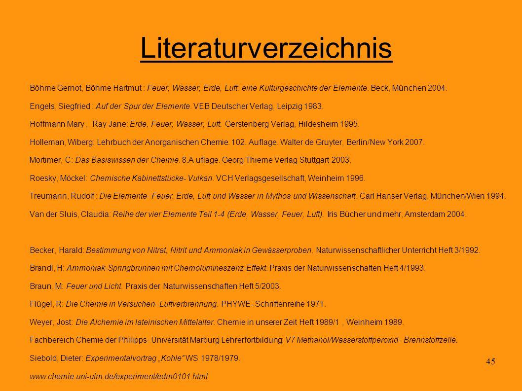 45 Literaturverzeichnis Böhme Gernot, Böhme Hartmut : Feuer, Wasser, Erde, Luft: eine Kulturgeschichte der Elemente. Beck, München 2004. Engels, Siegf