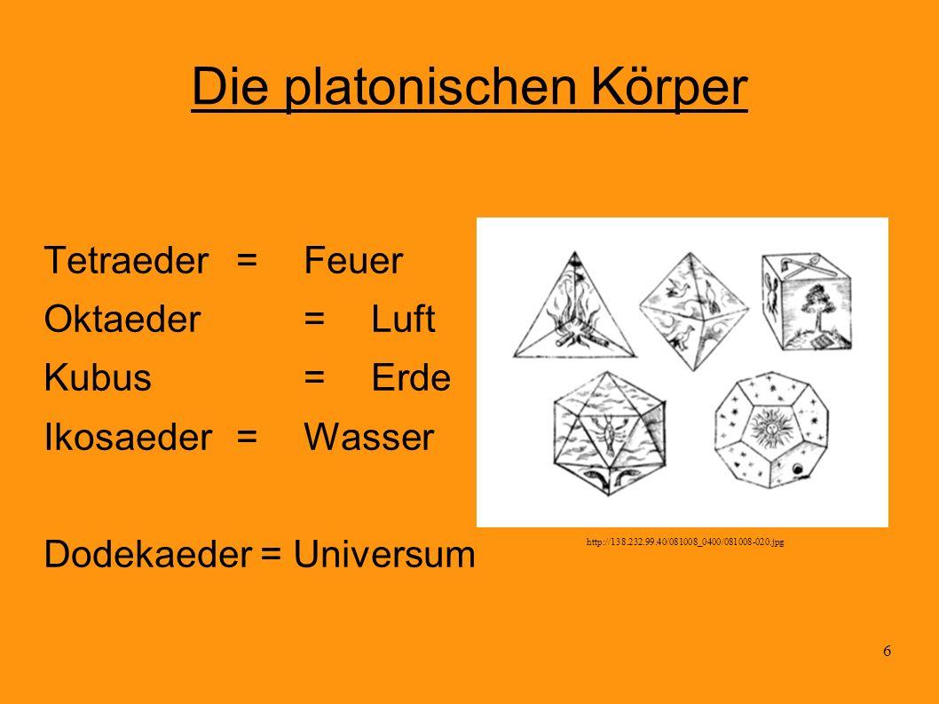 6 Die platonischen Körper Tetraeder= Feuer Oktaeder=Luft Kubus= Erde Ikosaeder =Wasser Dodekaeder = Universum http://138.232.99.40/081008_0400/081008-