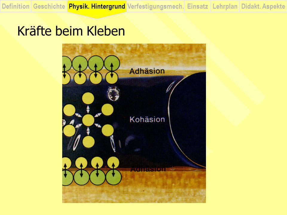 DefinitionVerfestigungsmech.Physik. HintergrundGeschichteEinsatzLehrplanDidakt. Aspekte Kräfte beim Kleben Physik. Hintergrund