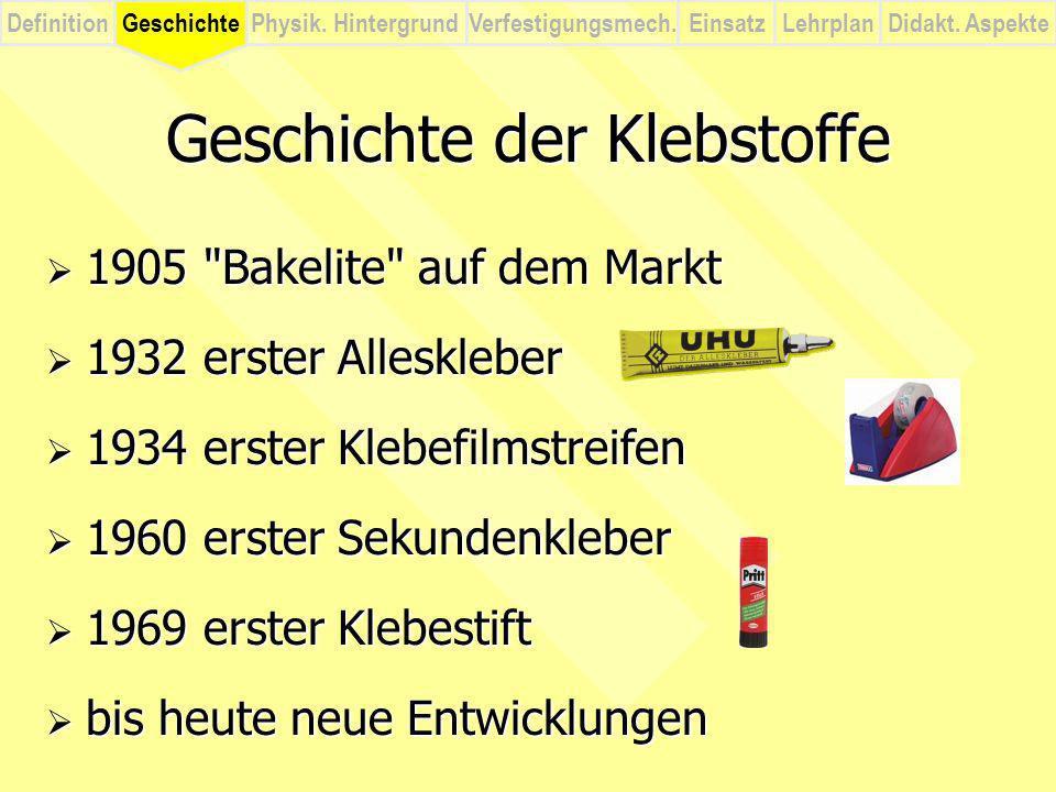DefinitionVerfestigungsmech.Physik. HintergrundGeschichteEinsatzLehrplanDidakt. Aspekte Geschichte der Klebstoffe 1905