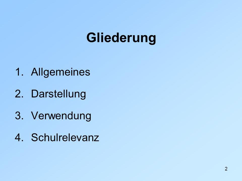 2 Gliederung 1.Allgemeines 2.Darstellung 3.Verwendung 4.Schulrelevanz