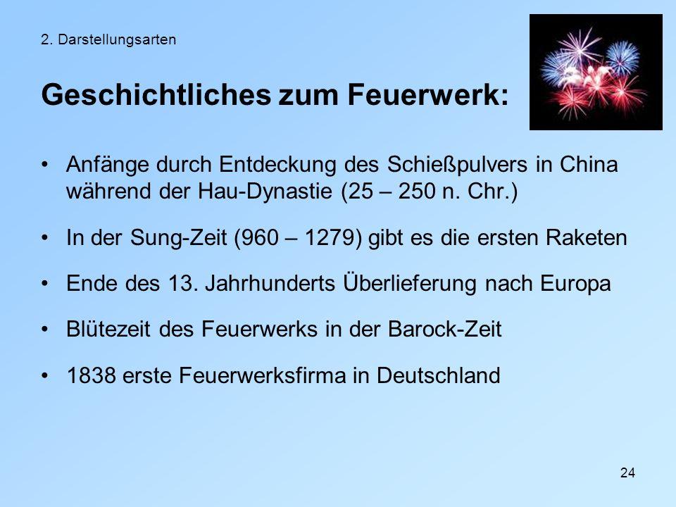 24 2. Darstellungsarten Geschichtliches zum Feuerwerk: Anfänge durch Entdeckung des Schießpulvers in China während der Hau-Dynastie (25 – 250 n. Chr.)