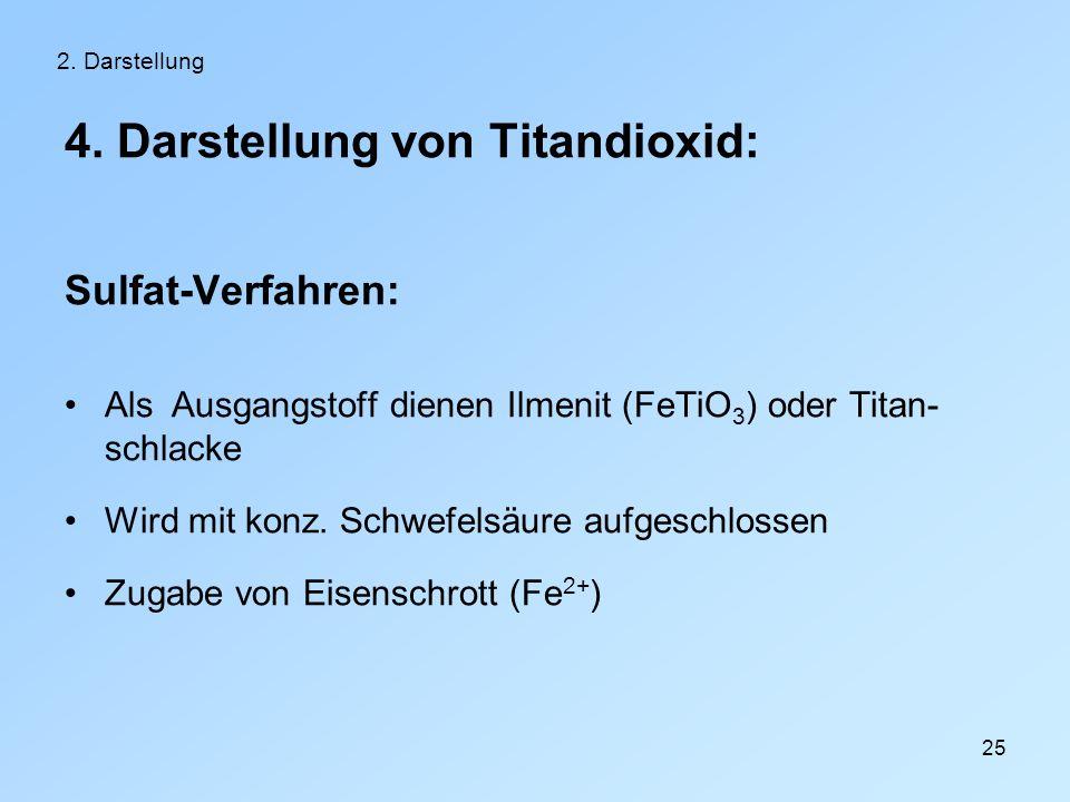 25 2. Darstellung 4. Darstellung von Titandioxid: Sulfat-Verfahren: Als Ausgangstoff dienen Ilmenit (FeTiO 3 ) oder Titan- schlacke Wird mit konz. Sch