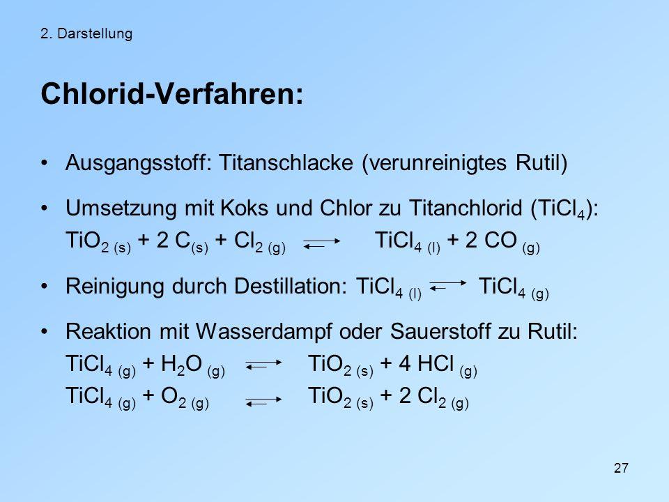 27 2. Darstellung Chlorid-Verfahren: Ausgangsstoff: Titanschlacke (verunreinigtes Rutil) Umsetzung mit Koks und Chlor zu Titanchlorid (TiCl 4 ): TiO 2
