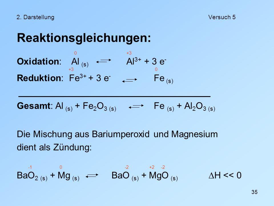 35 2. DarstellungVersuch 5 Reaktionsgleichungen: 0+3 Oxidation: Al (s) Al 3+ + 3 e - +3 0 Reduktion: Fe 3+ + 3 e - Fe (s) Gesamt: Al (s) + Fe 2 O 3 (s