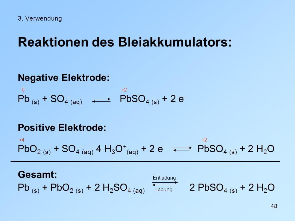 48 3. Verwendung Reaktionen des Bleiakkumulators: Negative Elektrode: 0 +2 Pb (s) + SO 4 - (aq) PbSO 4 (s) + 2 e - Positive Elektrode: +4 +2 PbO 2 (s)