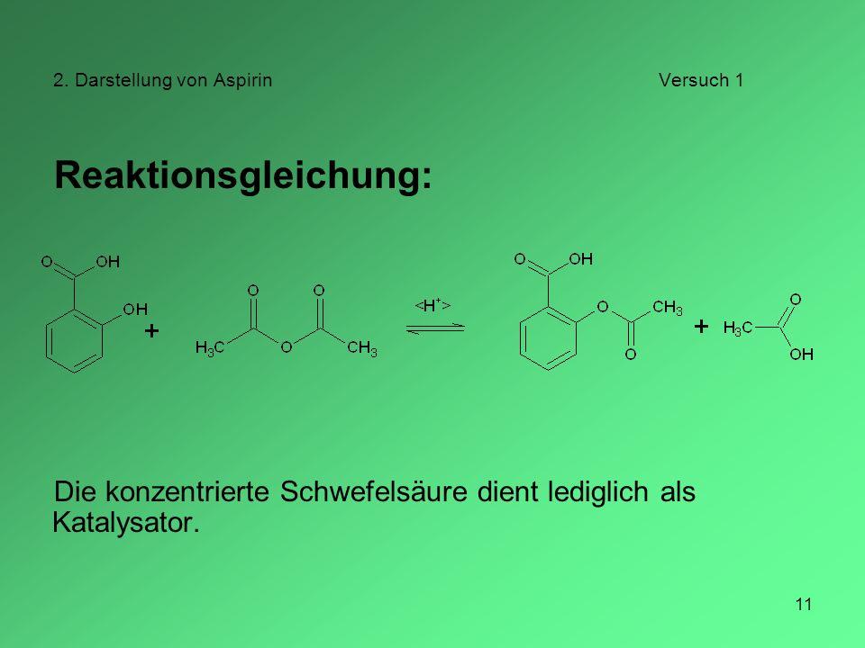 11 2. Darstellung von AspirinVersuch 1 Reaktionsgleichung: Die konzentrierte Schwefelsäure dient lediglich als Katalysator.