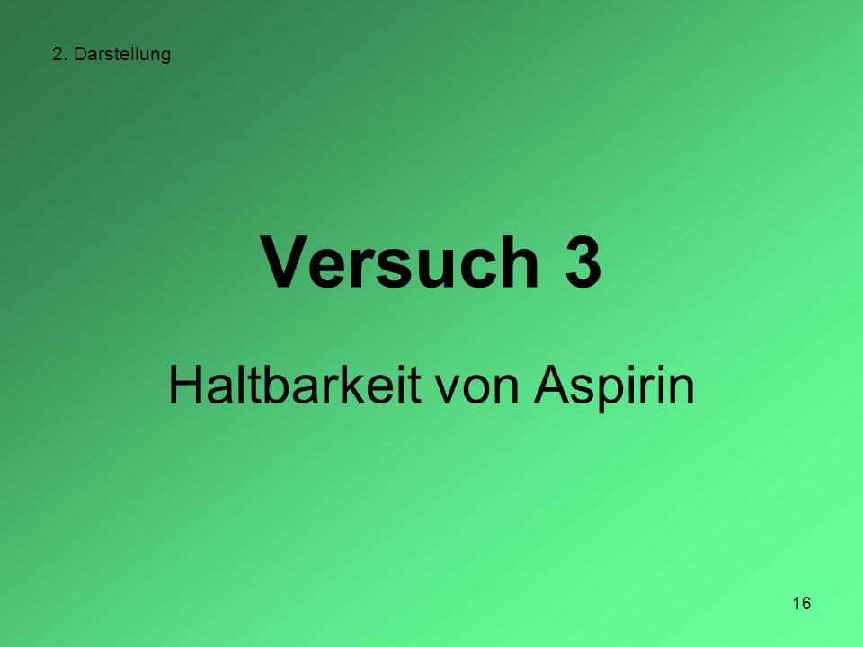 16 2. Darstellung Versuch 3 Haltbarkeit von Aspirin