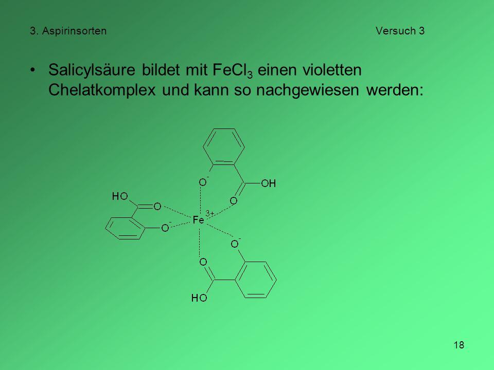 18 3. AspirinsortenVersuch 3 Salicylsäure bildet mit FeCl 3 einen violetten Chelatkomplex und kann so nachgewiesen werden: