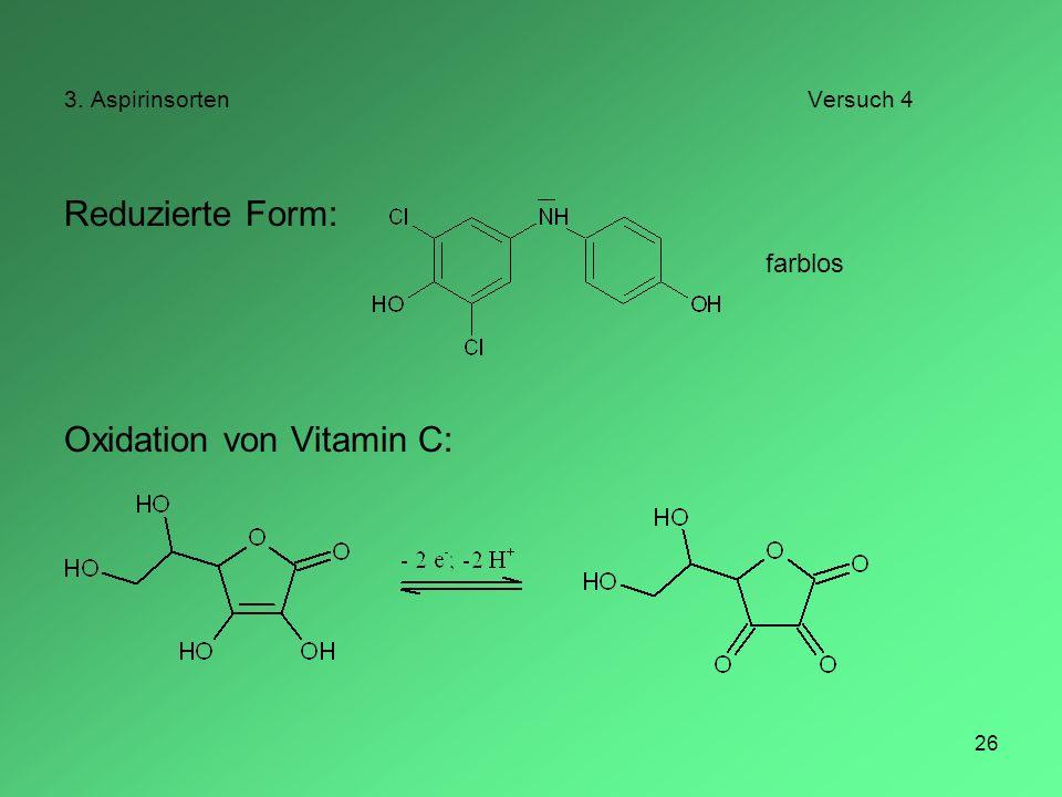26 3. AspirinsortenVersuch 4 Reduzierte Form: Oxidation von Vitamin C: farblos