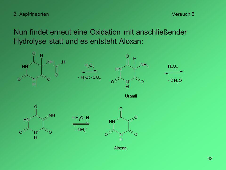 32 3. AspirinsortenVersuch 5 Nun findet erneut eine Oxidation mit anschließender Hydrolyse statt und es entsteht Aloxan: