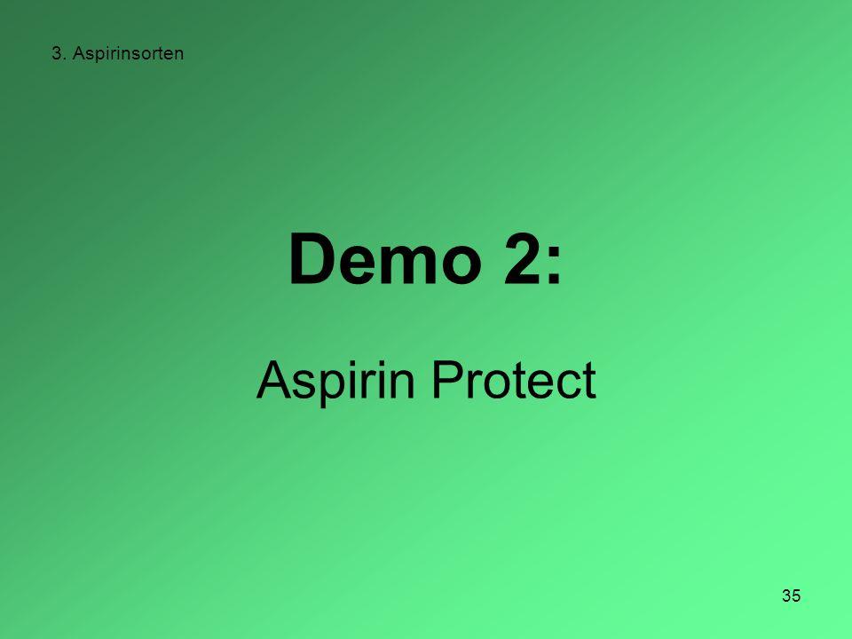 35 3. Aspirinsorten Demo 2: Aspirin Protect