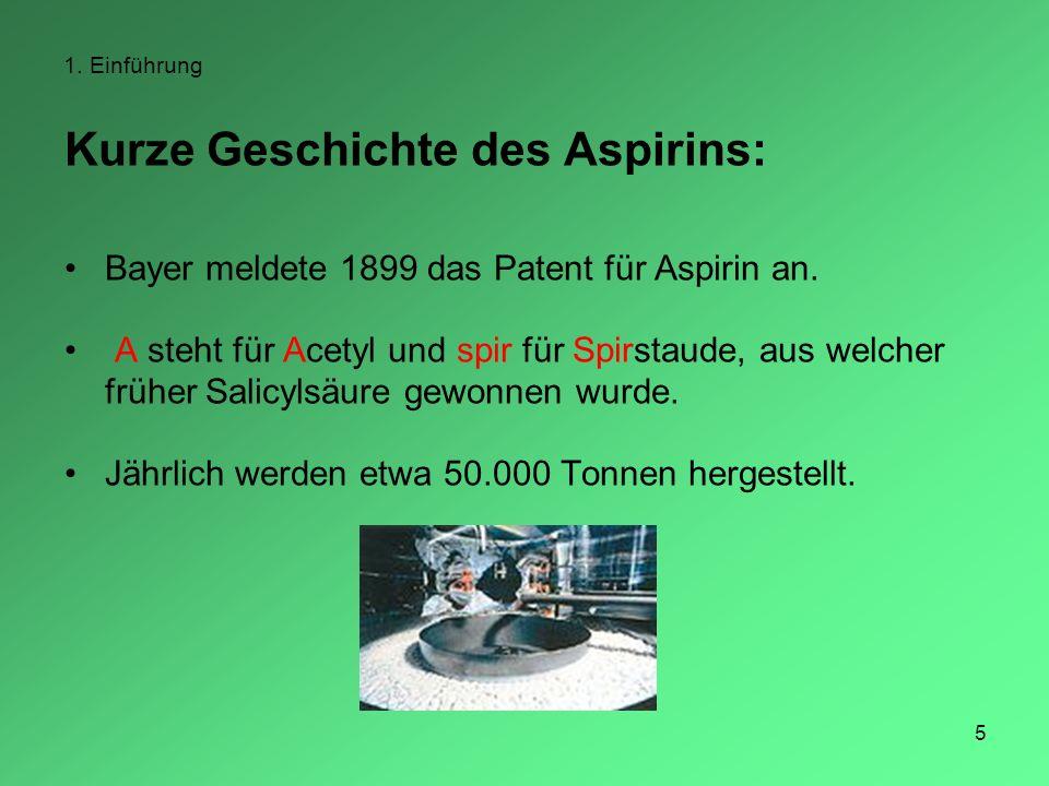 5 1. Einführung Kurze Geschichte des Aspirins: Bayer meldete 1899 das Patent für Aspirin an. A steht für Acetyl und spir für Spirstaude, aus welcher f