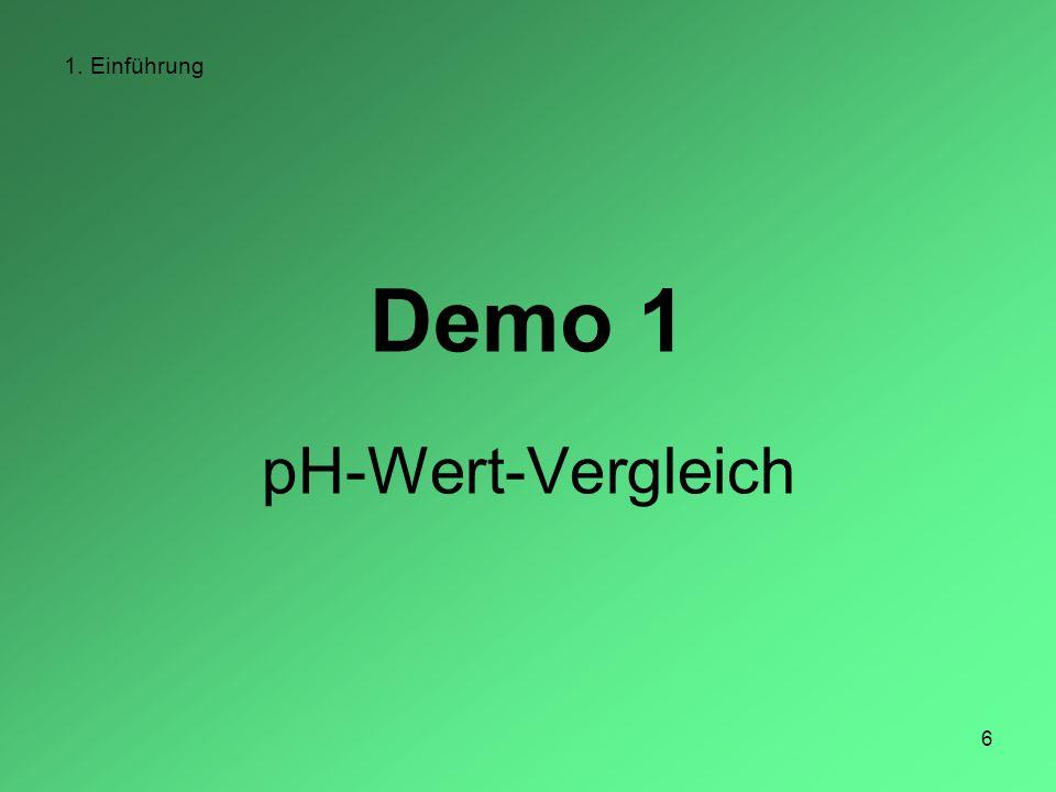6 1. Einführung Demo 1 pH-Wert-Vergleich