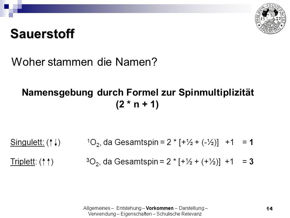 14 Singulett: ( ) 1 O 2, da Gesamtspin = 2 * [+½ + (-½)] +1 = 1 Triplett: ( ) 3 O 2, da Gesamtspin = 2 * [+½ + (+½)] +1= 3 Namensgebung durch Formel z
