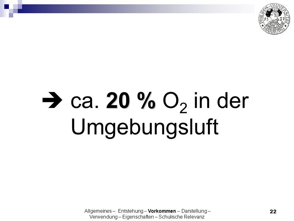 22 20 % ca. 20 % O 2 in der Umgebungsluft Vorkommen Allgemeines – Entstehung – Vorkommen – Darstellung – Verwendung – Eigenschaften – Schulische Relev