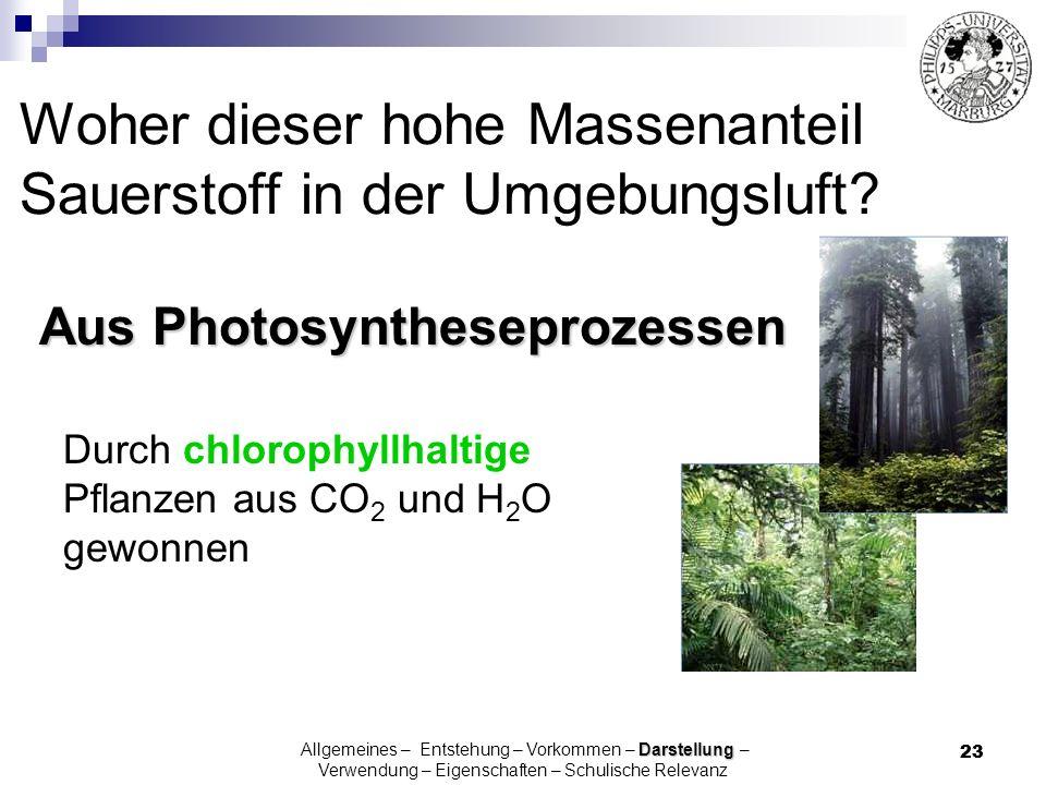 23 Woher dieser hohe Massenanteil Sauerstoff in der Umgebungsluft? Aus Photosyntheseprozessen Darstellung Allgemeines – Entstehung – Vorkommen – Darst