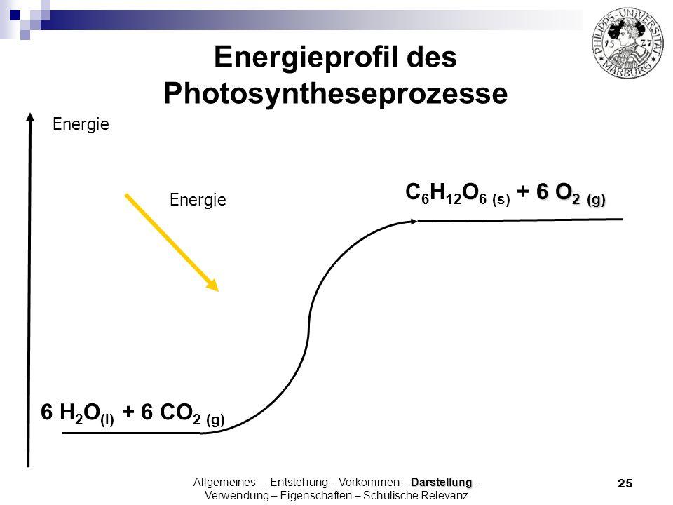 25 Energieprofil des Photosyntheseprozesse 6 H 2 O (l) + 6 CO 2 (g) Energie 6 O 2 (g) C 6 H 12 O 6 (s) + 6 O 2 (g) Energie Darstellung Allgemeines – E
