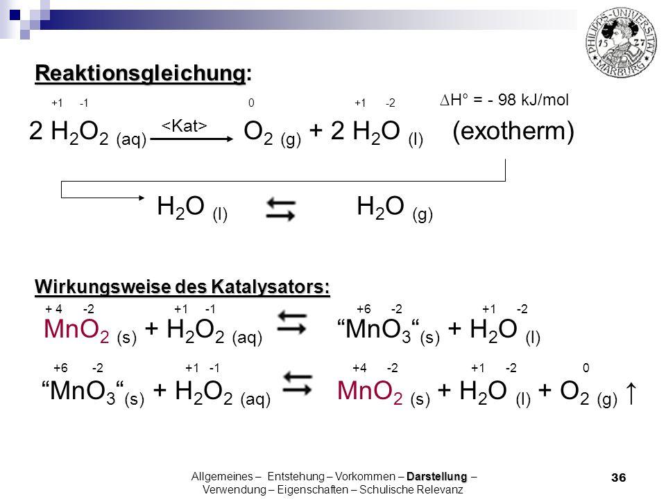 36 H° = - 98 kJ/mol 2 H 2 O 2 (aq) O 2 (g) + 2 H 2 O (l) (exotherm) Wirkungsweise des Katalysators: + 4 -2 +1 -1 +6 -2 +1 -2 MnO 2 (s) + H 2 O 2 (aq)