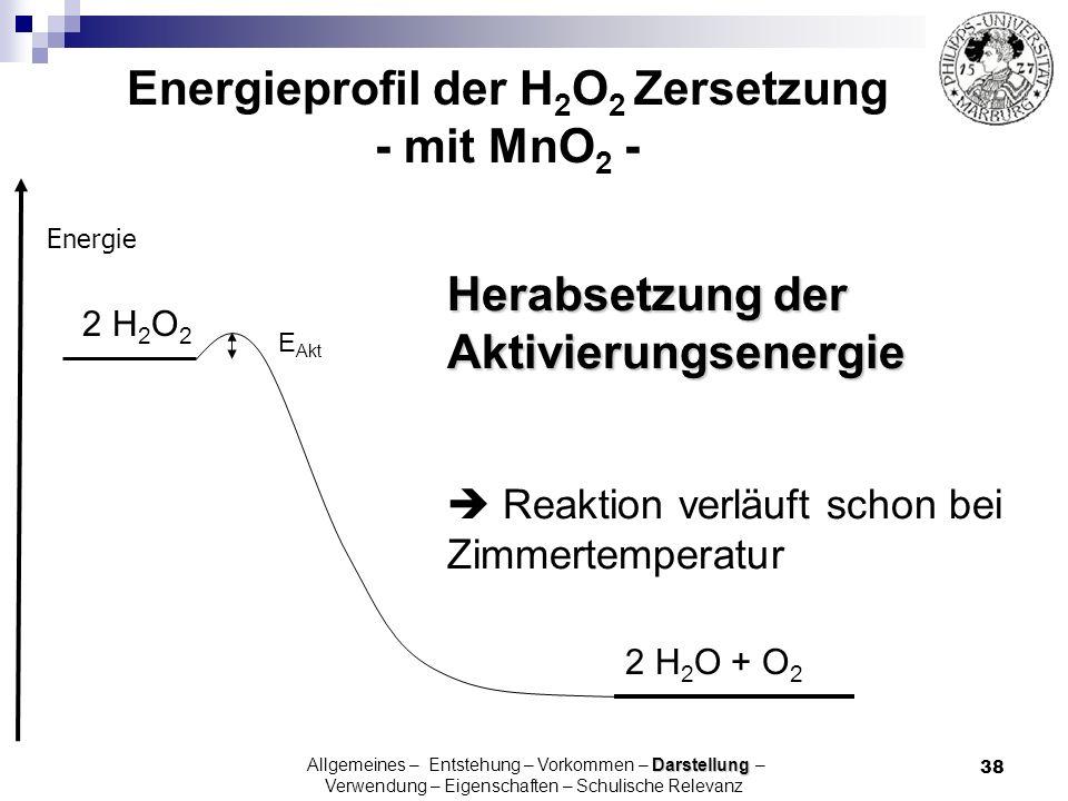 38 Energie 2 H 2 O 2 2 H 2 O + O 2 E Akt Herabsetzung der Aktivierungsenergie Reaktion verläuft schon bei Zimmertemperatur Darstellung Allgemeines – E