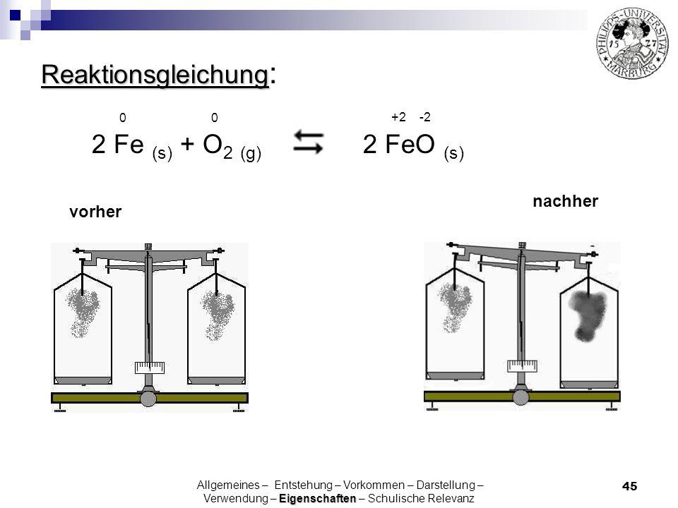 45 Reaktionsgleichung Reaktionsgleichung : vorher nachher 2 FeO (s) 2 Fe (s) + O 2 (g) 0 0 Eigenschaften Allgemeines – Entstehung – Vorkommen – Darste