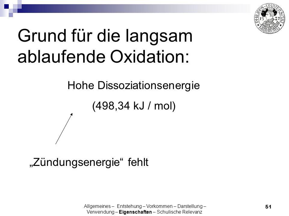 51 Grund für die langsam ablaufende Oxidation: Hohe Dissoziationsenergie (498,34 kJ / mol) Eigenschaften Allgemeines – Entstehung – Vorkommen – Darste
