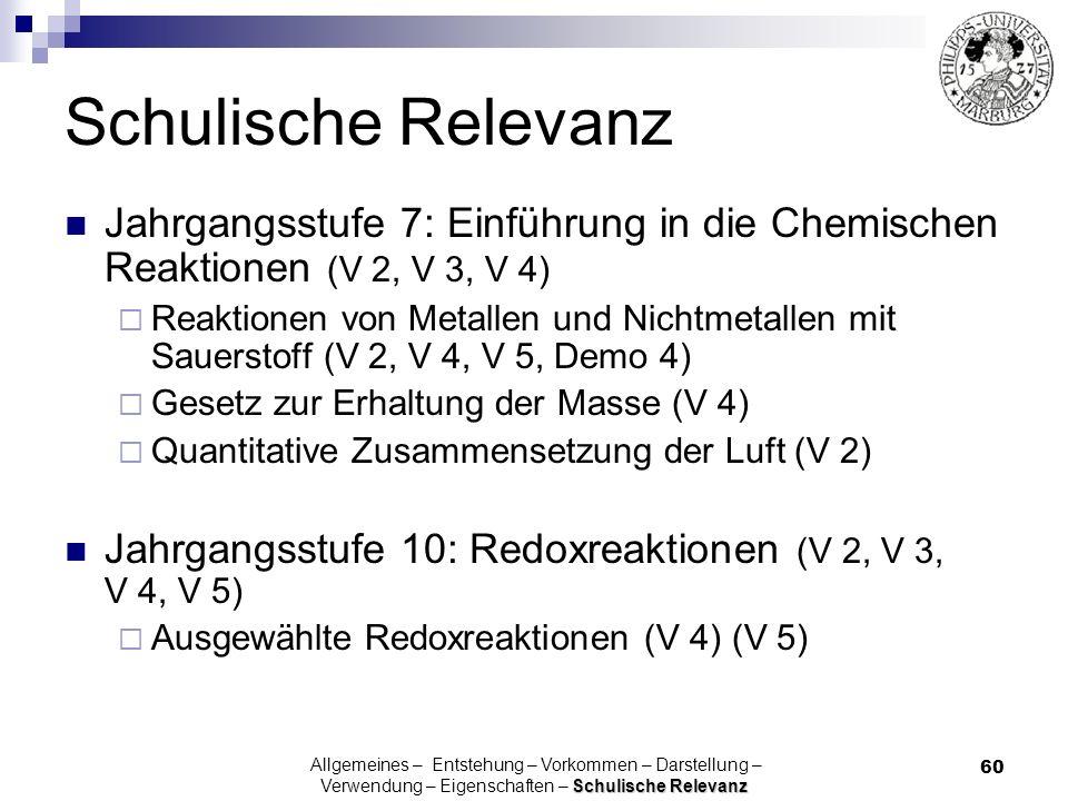 60 Schulische Relevanz Jahrgangsstufe 7: Einführung in die Chemischen Reaktionen (V 2, V 3, V 4) Reaktionen von Metallen und Nichtmetallen mit Sauerst