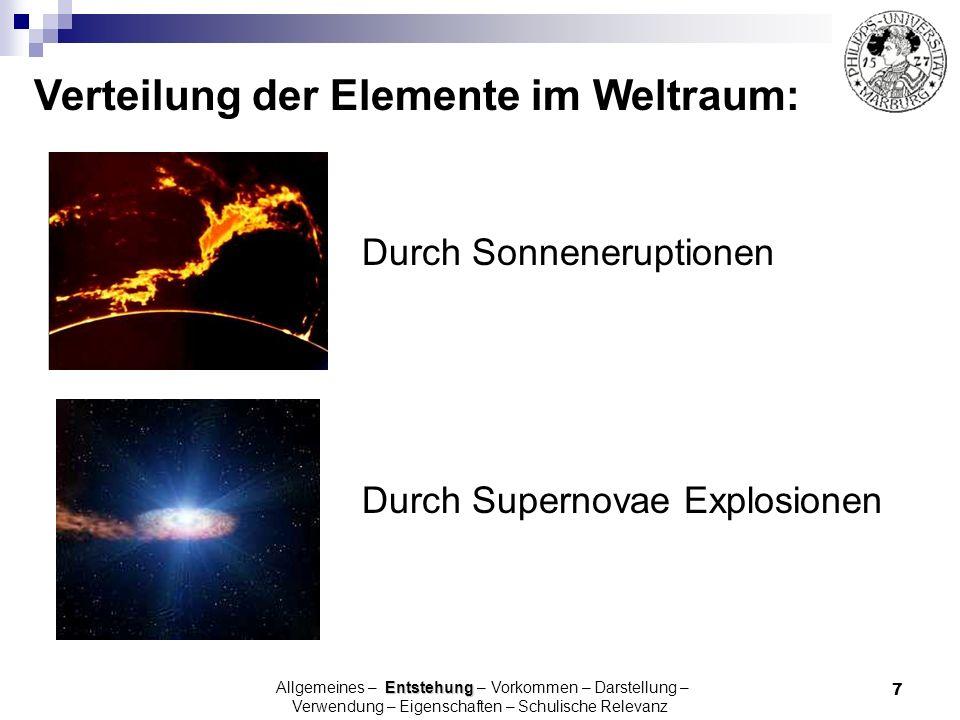 7 Durch Supernovae Explosionen Verteilung der Elemente im Weltraum: Durch Sonneneruptionen Entstehung Allgemeines – Entstehung – Vorkommen – Darstellu