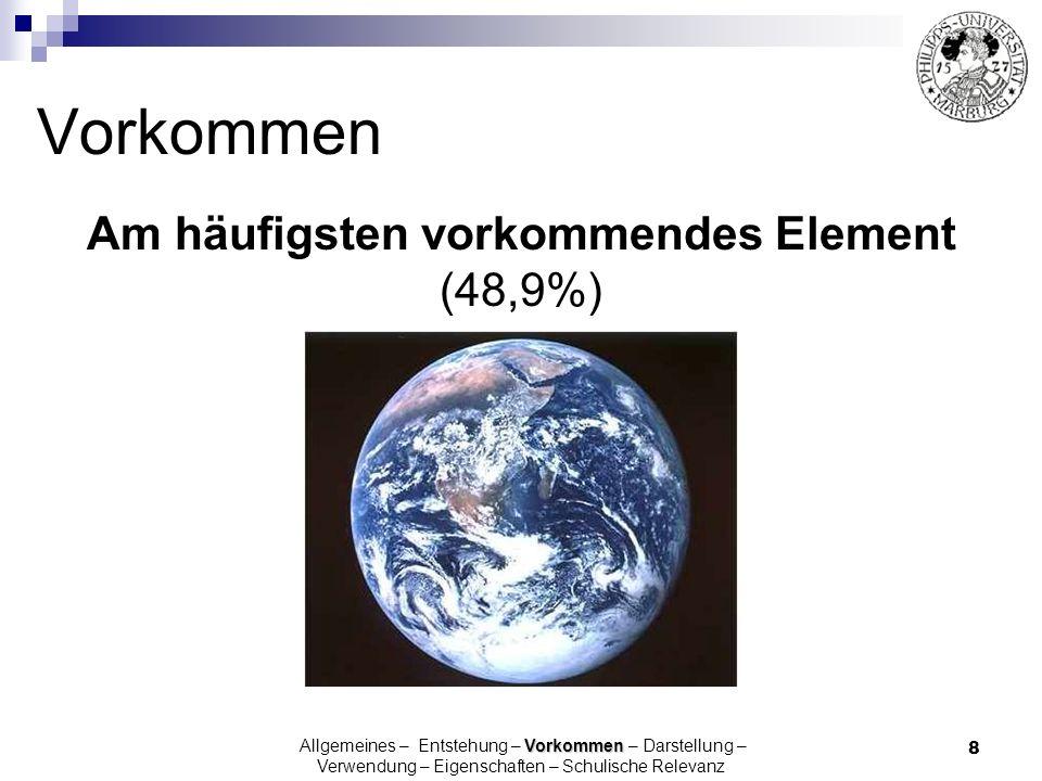 19 Gebunden: Oxide(H 2 O, CO 2, SiO 2 ) Carbonate (CO 3 2- ) Silikate (S x O y z- ) Vorkommen Allgemeines – Entstehung – Vorkommen – Darstellung – Verwendung – Eigenschaften – Schulische Relevanz