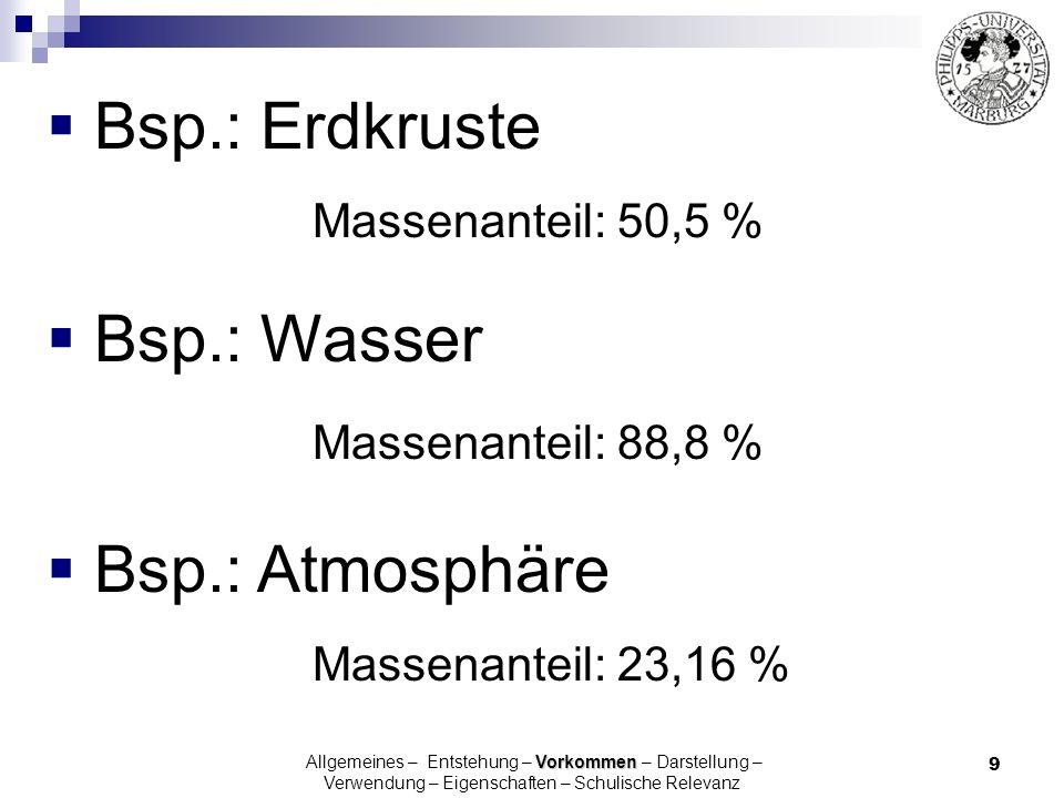 10 Bsp.: Atmosphäre: ProzentName 78,08 [N 2 ] Stickstoff [N 2 ] 20,95Sauerstoff [O 2 ] 0,93Argon [Ar] 0,34Kohlendioxid [CO 2 ] 0,0018Neon [Ne] 0,0005Helium [He] Volumenprozent Vorkommen Allgemeines – Entstehung – Vorkommen – Darstellung – Verwendung – Eigenschaften – Schulische Relevanz
