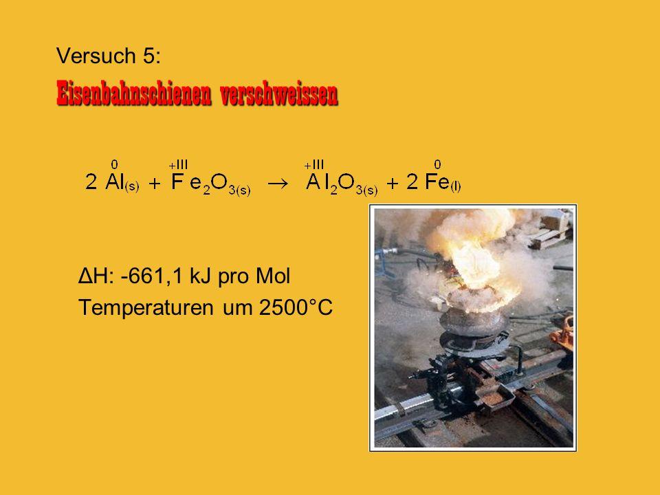 ΔH: -661,1 kJ pro Mol Temperaturen um 2500°C Eisenbahnschienen verschweissen Versuch 5: Eisenbahnschienen verschweissen