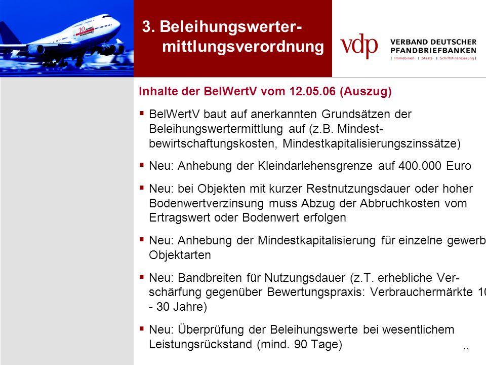 11 Inhalte der BelWertV vom 12.05.06 (Auszug) BelWertV baut auf anerkannten Grundsätzen der Beleihungswertermittlung auf (z.B. Mindest- bewirtschaftun
