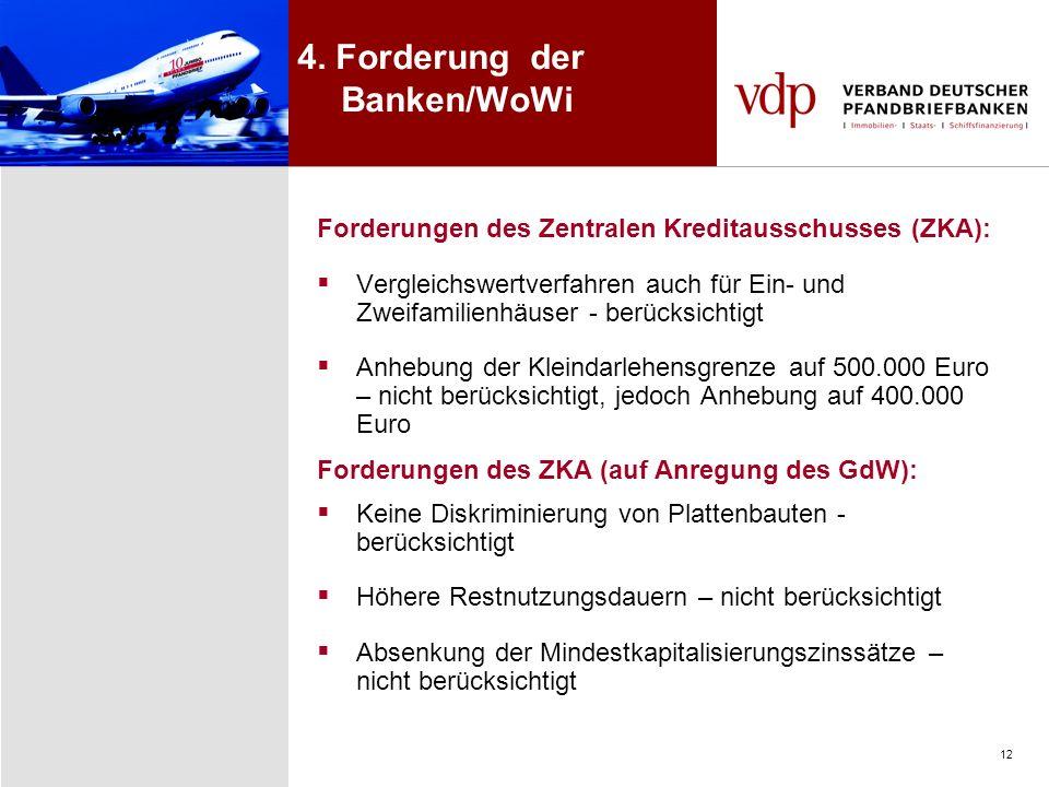12 4. Forderung der Banken/WoWi Forderungen des Zentralen Kreditausschusses (ZKA): Vergleichswertverfahren auch für Ein- und Zweifamilienhäuser - berü