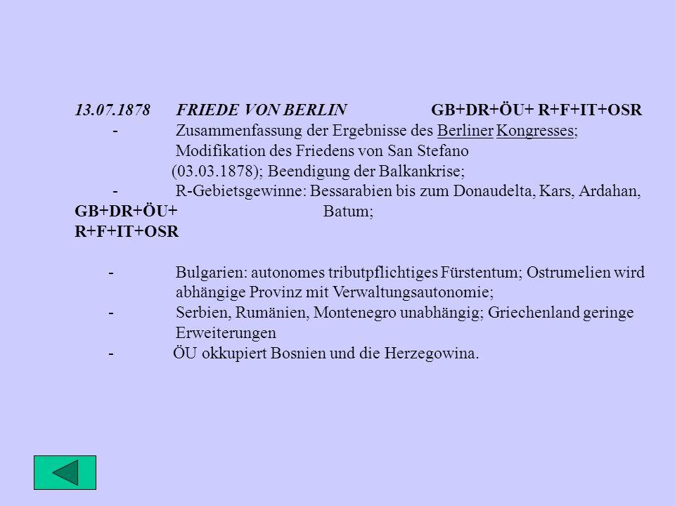 13.07.1878FRIEDE VON BERLIN GB+DR+ÖU+ R+F+IT+OSR -Zusammenfassung der Ergebnisse des Berliner Kongresses; Modifikation des Friedens von San Stefano (03.03.1878); Beendigung der Balkankrise; -R-Gebietsgewinne: Bessarabien bis zum Donaudelta, Kars, Ardahan, GB+DR+ÖU+ Batum; R+F+IT+OSR -Bulgarien: autonomes tributpflichtiges Fürstentum; Ostrumelien wird abhängige Provinz mit Verwaltungsautonomie; -Serbien, Rumänien, Montenegro unabhängig; Griechenland geringe Erweiterungen - ÖU okkupiert Bosnien und die Herzegowina.