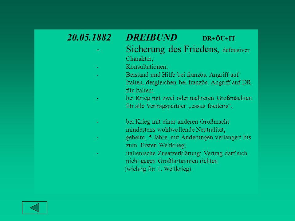 20.05.1882DREIBUND DR+ÖU+IT -Sicherung des Friedens, defensiver Charakter; -Konsultationen; -Beistand und Hilfe bei französ.