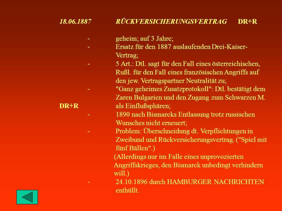 10.05.1871FRANKFURTER FRIEDENSVERTRAG -Beendigung des Deutsch-Französischen Krieges; DR+FR-Abtretung von Elsaß, Lothringen, Metz; -5 Milliarden Franken Reparationen, zahlbar in 3 Jahren; -(Teil-)Besetzungen bis Zahlungsende.