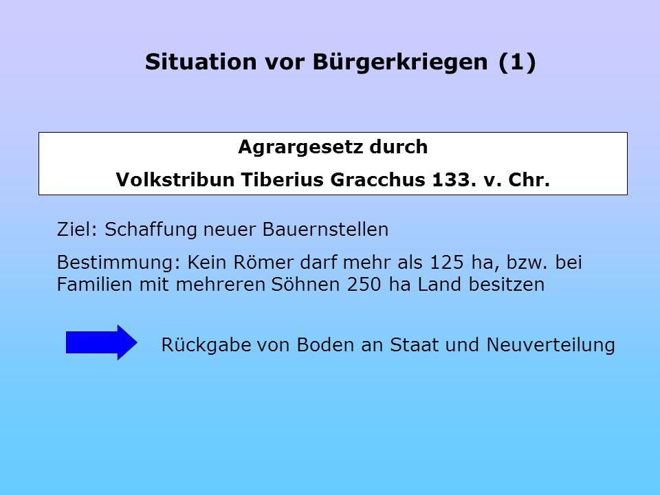 Situation vor Bürgerkriegen (1) Agrargesetz durch Volkstribun Tiberius Gracchus 133. v. Chr. Ziel: Schaffung neuer Bauernstellen Bestimmung: Kein Röme