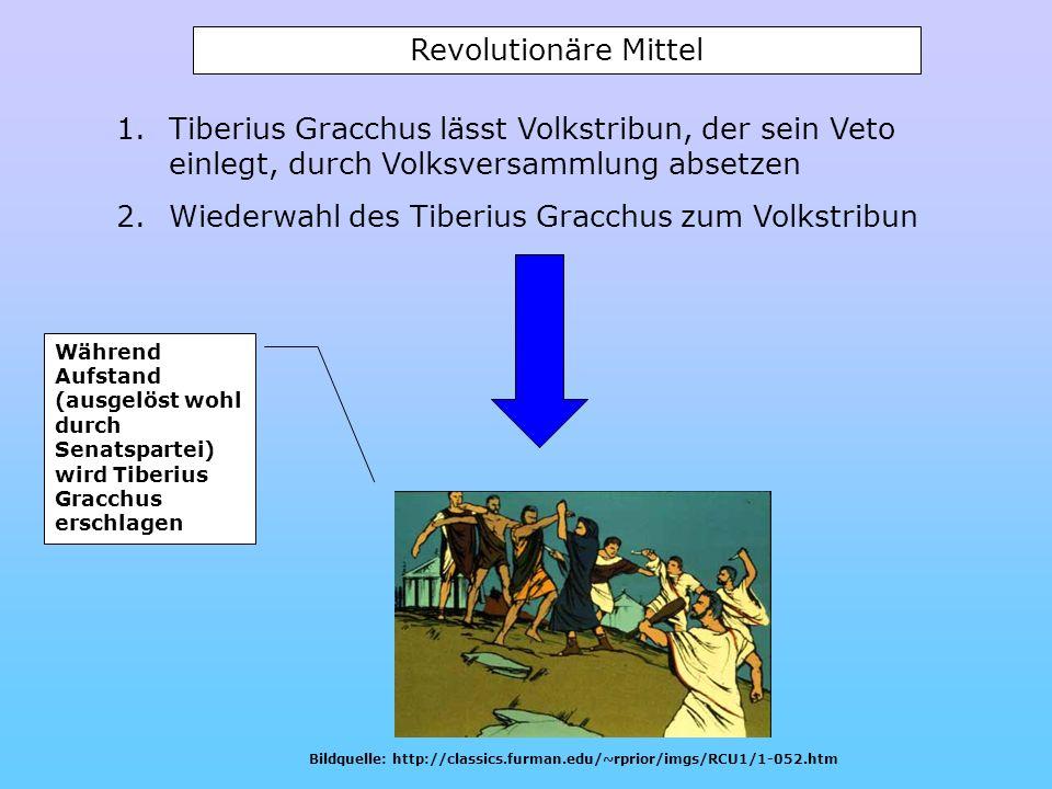 1.Tiberius Gracchus lässt Volkstribun, der sein Veto einlegt, durch Volksversammlung absetzen 2.Wiederwahl des Tiberius Gracchus zum Volkstribun Währe