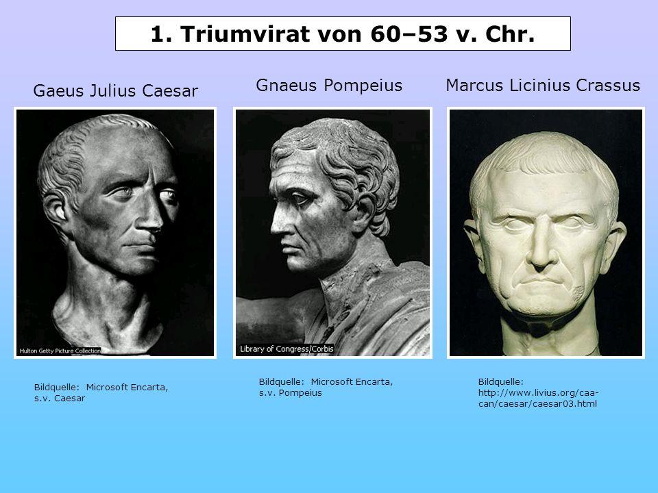 Gnaeus PompeiusMarcus Licinius Crassus Bildquelle: http://www.livius.org/caa- can/caesar/caesar03.html Bildquelle: Microsoft Encarta, s.v. Pompeius Bi