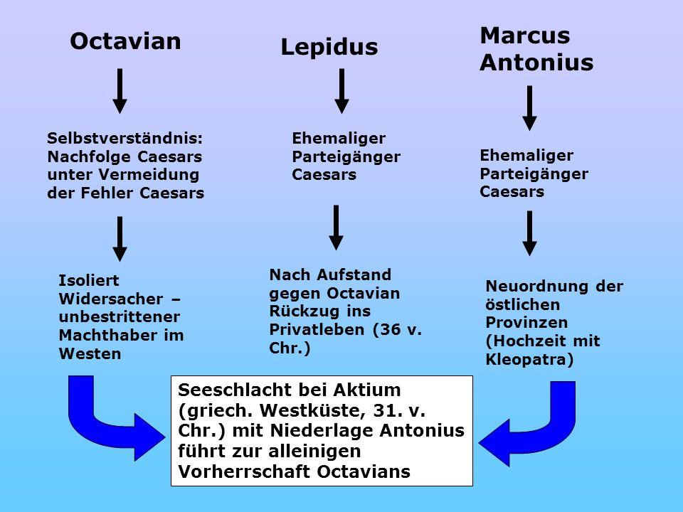 Octavian Selbstverständnis: Nachfolge Caesars unter Vermeidung der Fehler Caesars Isoliert Widersacher – unbestrittener Machthaber im Westen Lepidus E