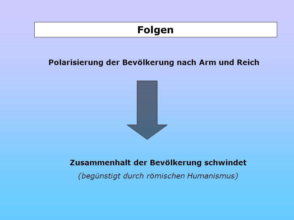 Polarisierung der Bevölkerung nach Arm und Reich Zusammenhalt der Bevölkerung schwindet (begünstigt durch römischen Humanismus) Folgen