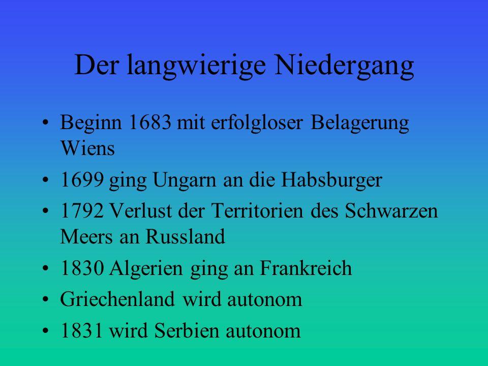 Der langwierige Niedergang Beginn 1683 mit erfolgloser Belagerung Wiens 1699 ging Ungarn an die Habsburger 1792 Verlust der Territorien des Schwarzen