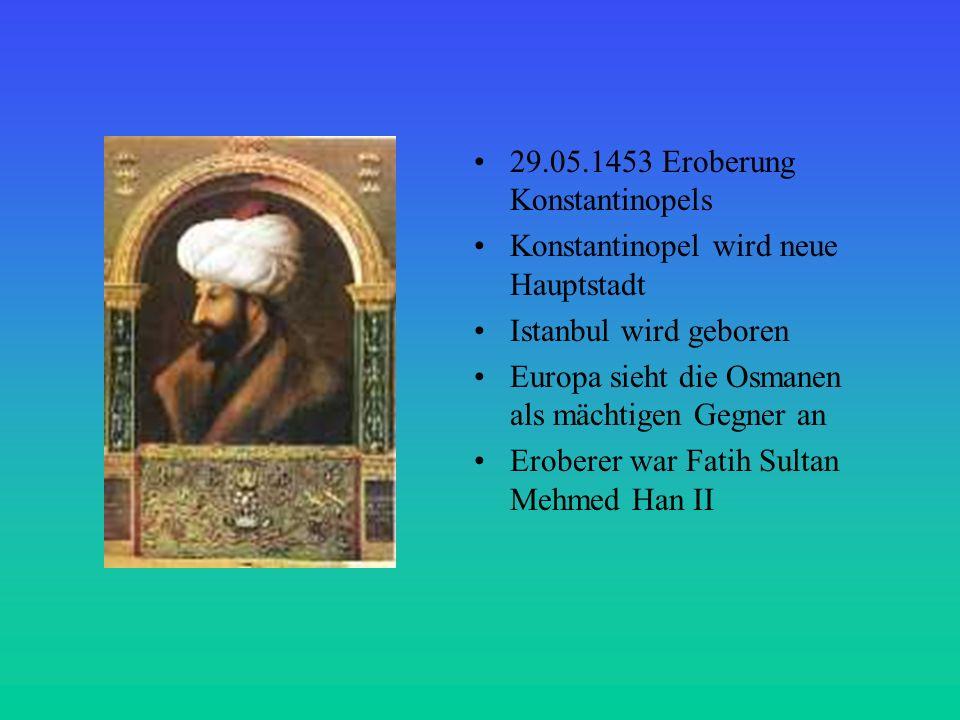 Der wichtigste Sultan der osmanischen Geschichte Sultan Süleyman der Prächtige ließ die Regelungen für das Sozialwesen, der Verwaltung und der Regierung kodifizieren Seine Eroberungen 1521 Belgrad schlug die Ungarn 1526 1534 Irak wird eingegliedert Kontrolle im Mittelmeerraum gefestigt erfolglose Belagerung Wiens