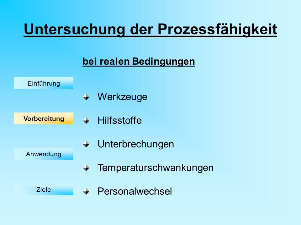 Untersuchung der Prozessfähigkeit Werkzeuge Hilfsstoffe Unterbrechungen Temperaturschwankungen Personalwechsel bei realen Bedingungen Einführung Vorbereitung Anwendung Ziele