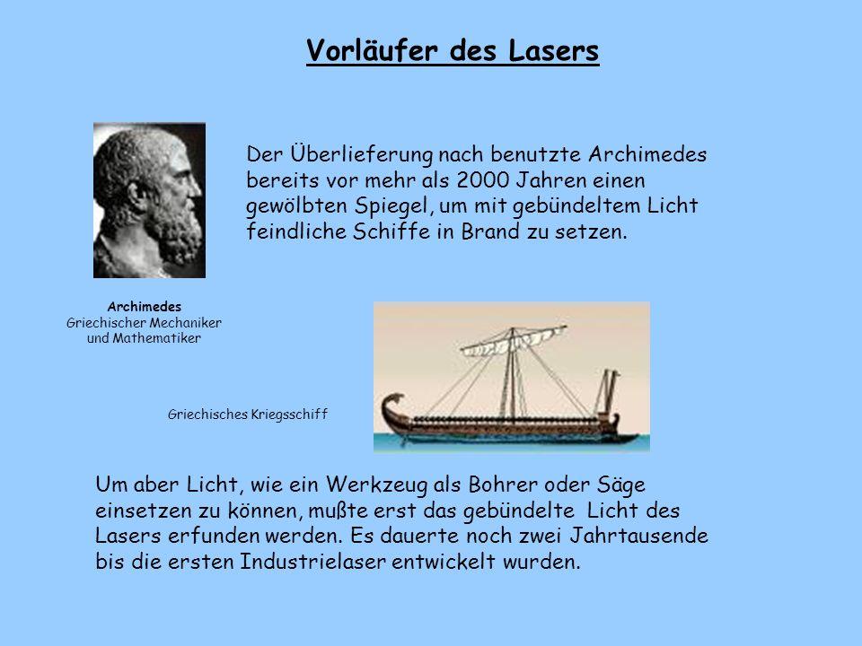 2. Nun lernt ihr die Vorläufer und den Erfinder des Lasers kennen.