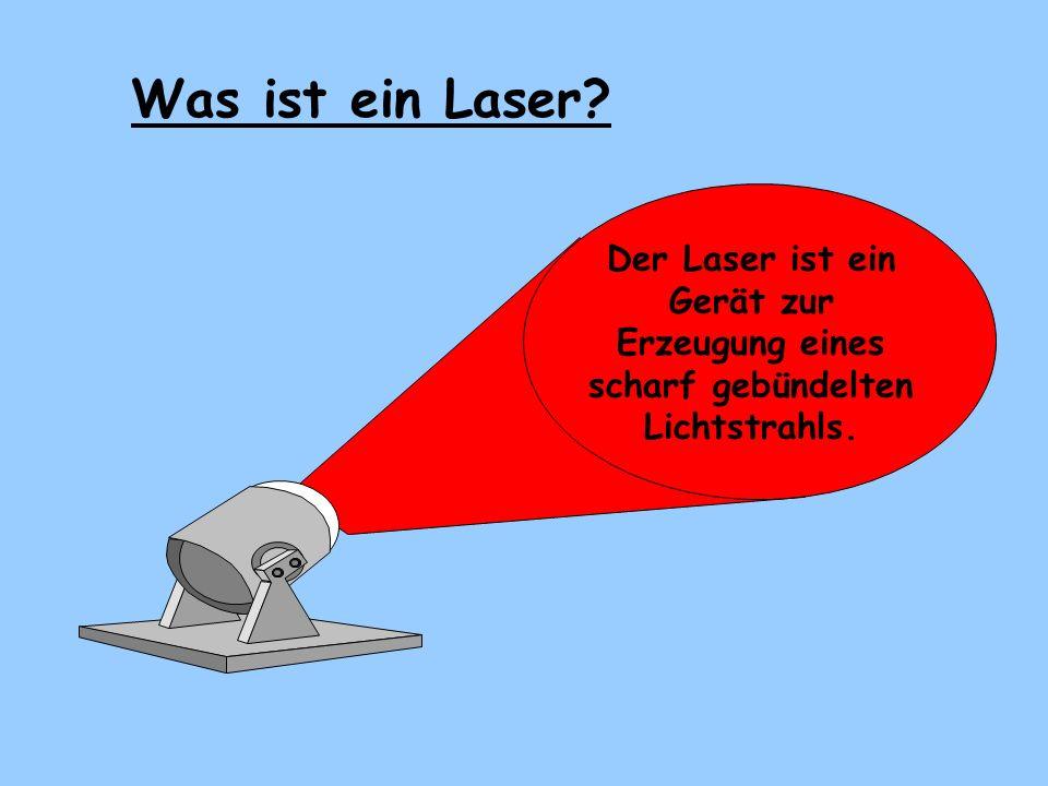 Laser ist eine Abkürzung aus dem Englischen und bedeutet : Was heißt Laser? LASERLASER Light Amplification by Stimulated Emission of Radiation Im Deut
