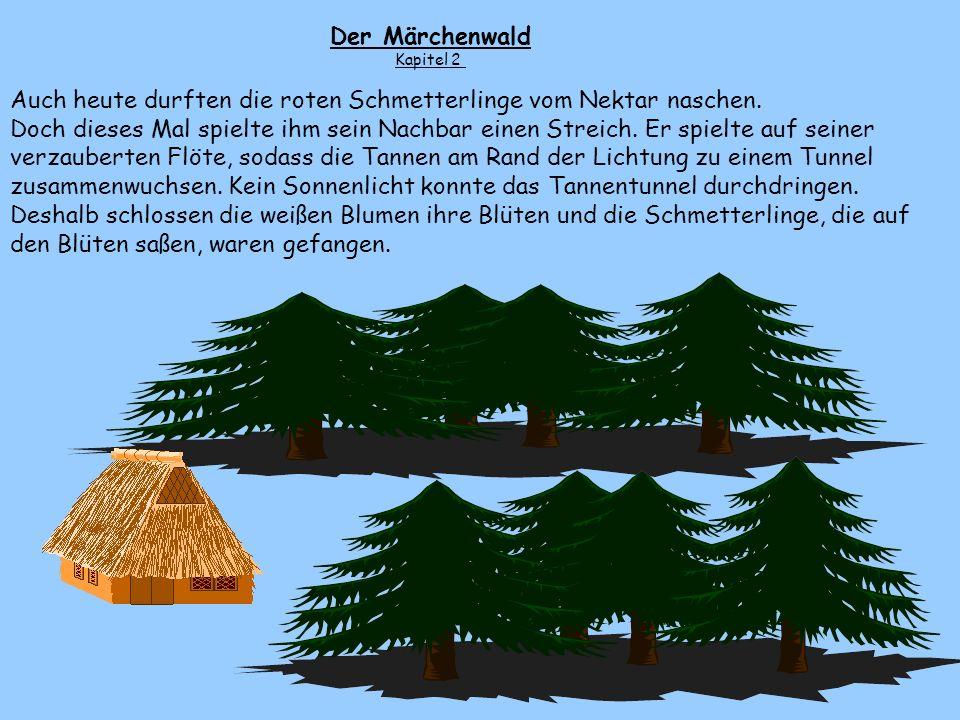 Es war einmal in einem Märchenwald. Dort stand die kleine Hütte des Zwerges Heribert. Hinter ihr erstreckte sich eine Lichtung. Sie war kaum breiter a